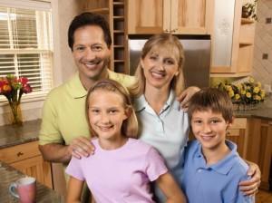 Family portrait in kitchen.